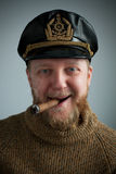 Seaman with a smoking cigar, knit sweater Royalty Free Stock Images