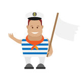 Seaman with white flag Royalty Free Stock Photo