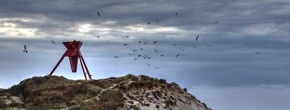 Seamark con los pájaros Foto de archivo libre de regalías
