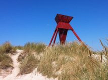 Seamark en dunes de sable Photographie stock