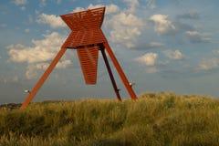 Seamark en dunes de sable dans Blokhus Photos libres de droits