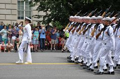 WASHINGTON, D.C. - JULY 4, 2017: seamen with the female commander-participants of the 2017 National Independence Day Parade July 4. Seamen with the female Stock Image