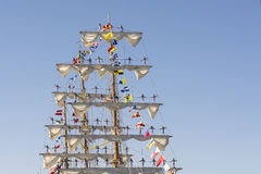Seamen manning yards on Cuauhtémoc. Seamen manning yards on the ARM Cuauhtémoc, a sail training vessel of the Mexican Navy, named for the last Aztec Emperor Stock Image