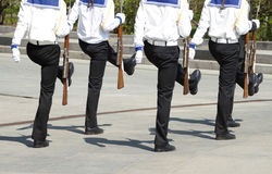 Seamen march. With a weapon in hands Royalty Free Stock Photos