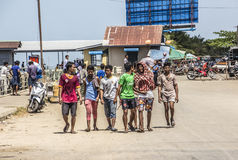 Seamen in the port. A group of seamen walks through the harbor of Myeik in the south of Myanmar Stock Photos