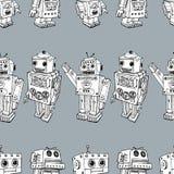 Seamess-Hintergrund der Spielzeugroboter Stockbilder