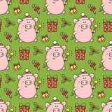 Seamess pattern with cute pig in a Santa Claus hat. With bengal fire, and with christmas symbols: gift, star, mistletoe, lollipop. It can be used for packaging royalty free illustration