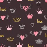 Seamess pattern with doodle crowns and hearts. Little princess design Stock Photography