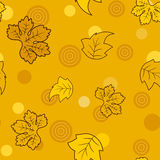 Seamess pattern with golden fairy leaves and circles Royalty Free Stock Photos