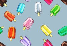 Colorful ice cream on stick on light blue background vector illustration