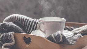 Seaming cup of coffee. With rusctic background, copy space Royalty Free Stock Image
