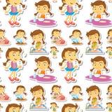 Seamle liten flicka som gör sysslor vektor illustrationer