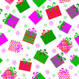 Seamleess background of gift boxes. Seamless background of gift boxes with different pattern stock illustration
