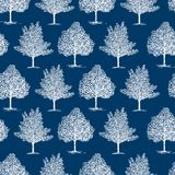Seamles background of the frozen trees. Vector pattern of the deciduous trees in winter vector illustration