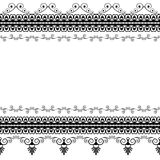 Seamles border pattern elements with flowers and lace lines in Indian mehndi style isolated on white background. Illustration Stock Images