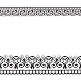 Seamles border pattern elements with flowers and lace lines in Indian mehndi style isolated on white background. Illustration Stock Photos