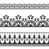 Seamles border pattern elements with flowers and lace lines in Indian mehndi style isolated on white background. Illustration Royalty Free Stock Images