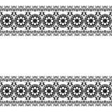 Seamles border pattern elements with flowers and lace lines in Indian mehndi style isolated on white background. Stock Photo