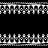 Seamles border pattern elements with flowers and lace lines in Indian mehndi style isolated on white background. Royalty Free Stock Photos