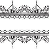 Seamles border pattern elements with flowers and lace lines in Indian mehndi style isolated on white background. Royalty Free Stock Image