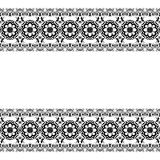 Seamles border pattern elements with flowers and lace lines in Indian mehndi style isolated on white background. Stock Photography