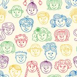 Seamles children faces pattern Royalty Free Stock Images