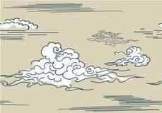 Seamles chinois japonais oriental de modèle de vecteur de style de nuages illustration libre de droits
