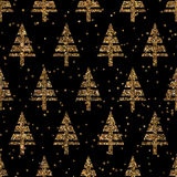 Seamles christmas pattern with christmas glitter trees winter ge Stock Photography