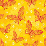 Seamless background with butterflys. Seamles decorative  background with butterflies and flowers Stock Photo