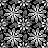 Seamles floral daisy Pattern - black and white Design Royalty Free Stock Photo