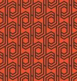 Seamles geometrisch patroon met lijnen en zeshoeken in sinaasappel en zwarte - vectoreps8 Royalty-vrije Stock Fotografie