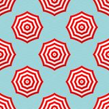 Seamles Pattern Red And White Parasols On Blue Waves stock illustration