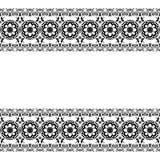 Seamles-Grenzmusterelemente mit Blumen und Spitzelinien in indischer mehndi Art lokalisiert auf weißem Hintergrund Stockfoto