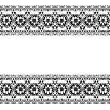 Seamles-Grenzmusterelemente mit Blumen und Spitzelinien in indischer mehndi Art lokalisiert auf weißem Hintergrund Stockfotografie