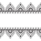Seamles边界与花的样式元素和在白色背景在印地安mehndi样式的鞋带线隔绝的 免版税库存照片