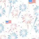 Seamles-Musterfeuerwerke, -amerikanische Flagge und -sterne Stockfotos