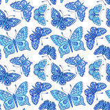 Seamles pattern with blue batterflies Stock Images