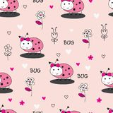 Seamles pattern with bugs and flowers. Seamles pattern with cute ladybugs and flowers for wrapping paper stock illustration