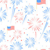 Seamles pattern Fireworks, American flag and stars Stock Photos