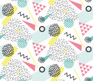 Seamles pattern in memphis style with geometric design elements Stock Photos