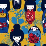 Seamles pattern with traditional japanese dolls - kokeshi and sakura flowers. Vector illustration in cartoon style Royalty Free Stock Images