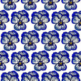 Seamles pattern wich pansies Royalty Free Stock Photos