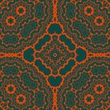 Seamles Tibet tribal como o teste padrão da arte Linhas vermelhas da simetria sobre o fundo verde ilustração stock