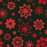 Seamless vector pattern with simplified pinkish red flower shapes royalty free illustration