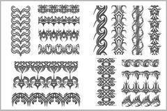 Seamlesgrenzen en Armbanden - vectorreeks Stock Afbeeldingen