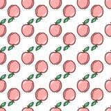 seamless äpplemodell Höst symbol för sommartappningdesign Vektorfruktillustration stock illustrationer