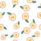 seamless äpplemodell Höst symbol för sommartappningdesign Vektorfruktillustration royaltyfri illustrationer