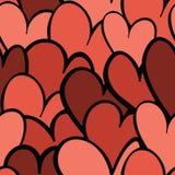 Seamless överlappande hjärtor mönstrar Royaltyfri Fotografi