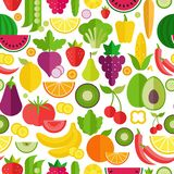 Fruits and vegetables seamless pattern. Organic and healthy food. Flat style, vector illustration. royalty free illustration