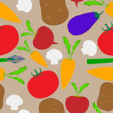 Seamless. From vegetables on brown background Stock Images